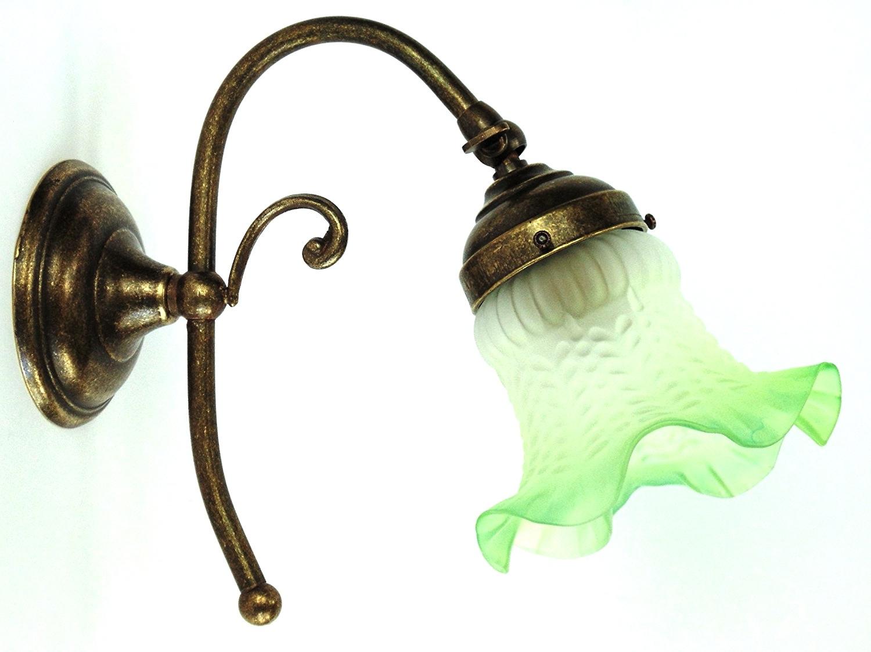 Applique in ottone con vetro satinato verde arterameferro