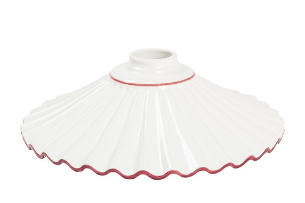 Piatto in ceramica bianca rosa per applique da 20 cm arterameferro