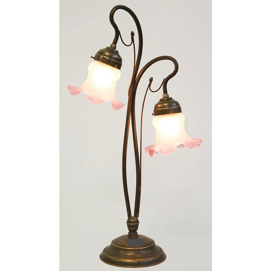 Lampada Per Comodino In Ottone Anticato Stile Liberty Con Vetro Satinato Bianco