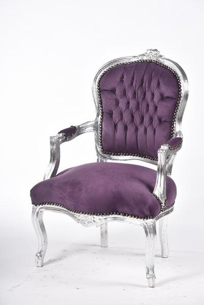 Poltrona viola stile barocco luigi xvi foglia argento ...